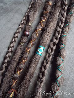 Synthetic hair removable dreadlock extensions by Purple Finch! Choose your hair and wrap colors! 6 Custom Synthetic Dreadlock Extensions Boho Dreads Hair Wraps & Beads