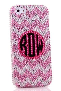 Baby Pink Chevron Personalized Monogram Design iPhone 5 5s 5c bling cases DIY phone cover for girls