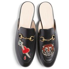 Women's Gucci Princetown Backless Loafer (3.160 BRL) ❤ liked on Polyvore featuring shoes, loafers, flats, black multi, gucci loafers, flat shoes, black sparkly shoes, sparkly flat shoes and sparkly flats