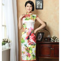 Fascinating Red Flowers Print Silk Cheongsam Dress - Qipao - Cheongsam - Women