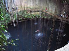 El azulado cenote sagrado de Chichén Itzá    El Cenote Sagrado de Chichén Itzá, México, es un cenote a cielo abierto, que se muestra como una depresión circular rellena de agua que mide 60m de diámetro, con paredes verticales que miden 15m del nivel del acceso a la supeficie de agua. Se encuentra al norte de la pirámide de Kukulcán y conectado con ella mediante una calzada de unos 300m de longitud. Como en el caso general de los cenotes, está conectado con otros flujos laminares…