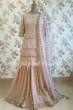 Pinkish Nude Lucknowi Sharara Set - Custom Made - Unique Color Shade Pakistani Fashion Party Wear, Pakistani Dress Design, Pakistani Outfits, Indian Outfits, Indian Fashion, Indian Designer Outfits, Designer Dresses, Fashion Bazaar, Eastern Dresses