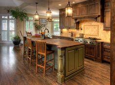Antique Kitchen Island Ideas with wooden floor