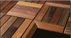 """Beautiful Ipe Deck Tiles, 12""""x12"""" available pre-finished. just clip them together for an easy DIY project!"""