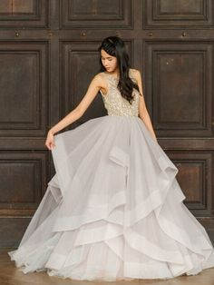 6493d16988e2b O Neck Tank Ball Gown Prom Dress Beading Bodice With Backless Tulle Gray  Prom Evening Dress