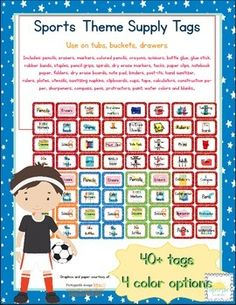 Here are some other related themed add-ons: Sports Classroom Bundle Sports Themed Where Is Our Class Cards (only) Sports Classroom Schedule  Sports Number Posters Sports ABC Printables Sports ABC Printables (w/ letter related pictures) Sports Behavior Clip Chart and Reward Cards Sports Themed Dolch Words (pre primer- 3rd grade) Sports Themed Classroom Table Signs (only)Sports Themed Supply Tags ONLYSimilar BUT different from those in each of my classroom theme bundles, these supply tags are…