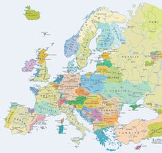 Hypothetical map of Europe if regional independence movements were to split European countries into smaller Soverign States.