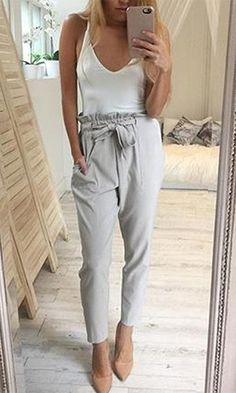 Urban Escape Light Grey Tie Waist Skinny Leg Pocket Trouser Pants
