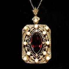 Items similar to Large Vintage Diamond, Pearl & Garnet Edwardian Necklace Pendant Gold SALE SALE on Etsy Old Jewelry, I Love Jewelry, Art Deco Jewelry, Antique Jewelry, Vintage Jewelry, Fine Jewelry, Jewelry Design, Jewellery, Garnet Pendant