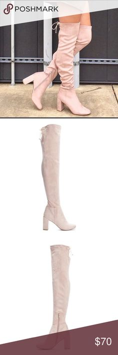 Chinese Laundry Krush OTK Boot Pink Suedette The over-the-knee boot you've been looking for, Krush is a total game changer for your wardrobe. Crafted from an ultra-soft faux suede, this pair is complete with a stunning block heel, almond-toe, and self-tie laces on the back. By Chinese Laundry. Chinese Laundry Shoes Over the Knee Boots