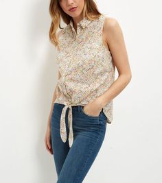 White Ditsy Floral Print Tie Front Sleeveless Shirt  | New Look
