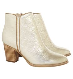 Gold Crushed Metallic Leather Ankle Boots