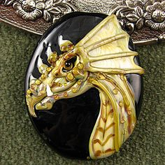 NEW Lampwork  Dragon Focal Bead by Kerribeads by kerribeads - I need to make a clay version!!