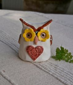Ceramic Owl figurine  Small white and red by BlueButterflyCrafts