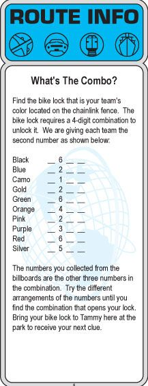 Hide coloured number clues throughout the school and teams have to order the numbers to unlock the lock.