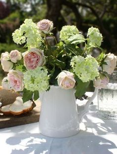Artificial Vintage Pink Roses and Gelder Rose in a Stone Jug, Artificial Floral Arrangements, Artificial Silk Flowers, Silk Flower Arrangements, September Flowers, Wax Flowers, Coming Up Roses, House Ornaments, Summer Wreath, Summer Flowers