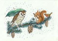 Illustration by Molly Brett. An owl, sheltering under an umbrella is entertained by a squirrel playing a flute and a warbling robin as they all balance together on a fir branch.