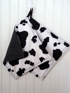 Potholders Set of 2 Cow Print Cow Hide by MarlenesSewingRoom, $15.00