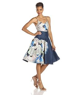 Tracy Reese Womens Printed Taffeta Cami Dress Moonshine Floral Placement 8