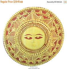 25% OFF SALE Home Decor Indian Handicraft Wall Hanging Handmade Wall Decor Good Luck Sun Face in Cane Slices Work from Tripura in North East India
