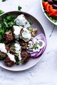 Lamb Meatballs, Dinner Party Recipes, Eat Seasonal, Lentil Salad, Mediterranean Dishes, Tzatziki, Meatball Recipes, Salad Dressing, Main Dishes