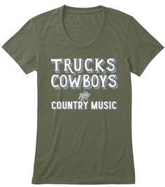 e61d2e33580 Trucks Cowboys Military Green Women s T-Shirt Front