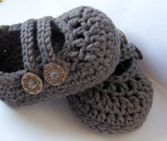 Crochet Cotton Baby Booties 2 Strap Mary Janes di HeathersHobbies