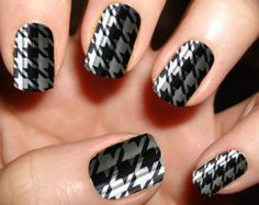 Black and Silver Houndstooth Nails