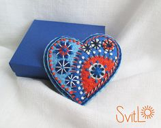 Happy heart.Orange Red Light Blue Steel Blue Fireworks.Folk Art Felt brooch.Valentine's Day gift.Hand embroidery. French knot. Gift for her.
