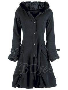 Single-Breasted Wool Hood Long Sleeve Women's Overcoat