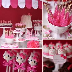 What Tori Spelling had made for her daughter's 3rd birthday party. These look like a lot of fun. Hello Kitty Cake pops, rock sugar crystal candies, cookies and cream cupcake bites. Fun party. There is this block by Bakerella who makes cake pops and shares her secrets. I think it is on my Garfield Cake Pop Pin in either here or Great Foods. These are things we really all can do! :-)