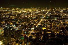 Chicago - miasto nocą z samolotu... Chicago - Illinois - USA #Chicago #Illinois #USA #photography #city #Polacy_w_USA #Polonia #wietrzne #miasto #windy #city