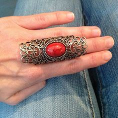 Retro-Inspired Antique Gold Scrolling Design Faux Red Stone Armor ring Free Size #uniklook #Statement