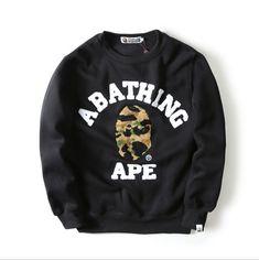 957cddb63129 Bape A Bathing Ape Embroidery Head Sweater Hoodie Men Casual Sweatshirt  Pullover
