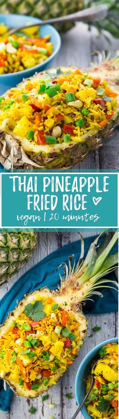 This Thai pineapple fried rice recipe couldn& be easier! This Thai pineapple fried rice recipe couldn& be easier! It& not only super delicious and healthy, but also ready in less than 15 minutes! Rice Recipes Vegan, Vegan Dinner Recipes, Vegan Foods, Vegan Dishes, Veggie Recipes, Asian Recipes, Whole Food Recipes, Cooking Recipes, Healthy Recipes