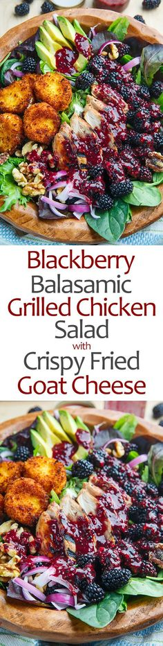 Blackberry Balsamic Grilled Chicken Salad with Crispy Fried Goat Cheese. It's made with a blackberry balsamic Dijon mustard vinaigrette that is used both to marinate the chicken and as the dressing for the salad! From @closetcooking #recipe