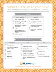 Free printable summer checklist for the home
