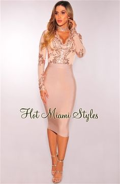 Nude Rose Gold Sequins Long Sleeves Bodysuit Womens clothing clothes hot miami styles hotmiamistyles hotmiamistyles.com sexy club wear evening  clubwear cocktail party kim kardashian dresses