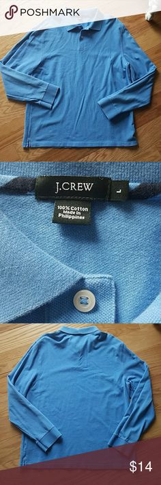 J.CREW Classic Pique Longsleeve Polo Light Blue with collar and 2 white buttons  Good used condition.. slight fading that gives the shirt an authentic vintage feel. 22'' armpit to armpit  25'' from center of neck opening in front to bottom of shirt  Size large J. Crew Shirts