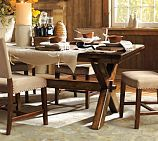 oscana Dining Table, love the rustic look.  Would use armless leather highback chairs on 3 sides, long benck on the remaining. $799