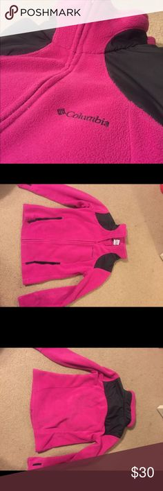 "Columbia Women's Full Zip Fleece Full zip fleece. No pilling on the jacket. Sleeves have ""thumb holes"". women's fit. Looks brand new. Magenta color Columbia Jackets & Coats"