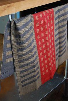 Tea Towel Handwoven Squares & Stripes Cotton/Linen Charcoal/Red