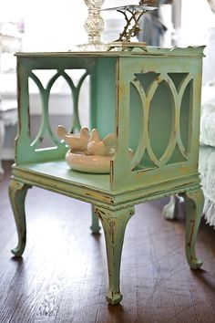 Vintage Shabby Chic Nightstand End Table Distressed Aqua Blue Beach Coastal…