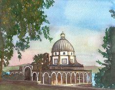 Church of the Beatitudes by jonalmondartworks on Etsy