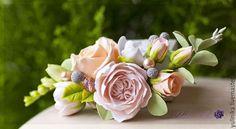 заколка невесты холодный фарфор бордовый персиковый - Поиск в Google