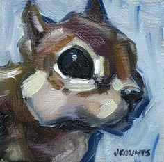 """KYLE BUCKLAND JENN COUNTS FARM ART CHIPMUNK SQUIRREL   ANIMAL OIL PAINTING A DAY Impressionism ANIMAL PORTRAIT CUTE ANIMAL FINE ART WALL ART HOME OFFICE DECOR TINY PAINTING GREAT GIFT IDEA COLLECTIBLE """"Tucker"""" Oil on Canvas 4""""x4"""""""