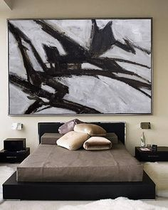 Abstract Acrylic Painting, Contemporary Art, Hand Made, extra large wall art, large wall decor, extra large canvas art, Black white painting
