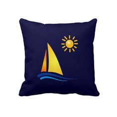 Prepare for Summer: Boat and Sun Throw Pillow