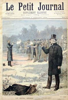 Cover of Le Petit Journal January, featuring the bloodless duel between two-time French Prime Minister Georges Clemenceau and Nationalist politician Paul Deroulede. This was one of 22 duels Clemenceau was said to have fought. Art Of Manliness, Best Black, Fight Club, Cool Hats, Time Art, Vintage Pictures, Affair, Sculptures, Knowledge