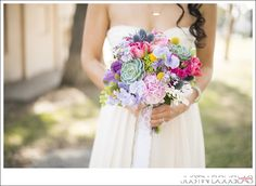 colorful wedding bouquet with succulents #bouquet #colorfulwedding - photo by justin douglas